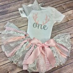 Deer Antler Birthday Outfit in Light Pink and Silver by CamiAndJo