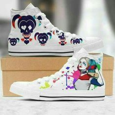 converse, harleyquinn, and suicidesquad image Kings & Queens, Harley Quinn Comic, Hype Shoes, Fresh Shoes, Painted Shoes, Converse Shoes, Emo Shoes, Custom Shoes, Marvel Dc