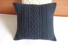 Blue denim hand knitted cushion cable knit pillow by Adorablewares, $35.00
