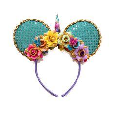 Unicorn Mouse Ears Headband, Unicorn Headband, Rainbow Headband, Flower Mouse Ears, Minnie Ears Headband, Mickey Ears Headband, Cruise Ears