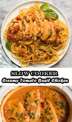 Slow cooked chicken with cream tomatoes and basil is easier and tastier, you won't believe some of the ingredients! The perfect recipe for a simple dinner on a busy weekday! This slow cook chicken is put together in record time using only the few ingredients we usually have Slow Cooked Chicken, Baked Chicken Breast, Breaded Chicken, Chicken Meals, Chicken Tacos, Keto Chicken, Fried Chicken, Easy Salad Recipes, Snacks Recipes