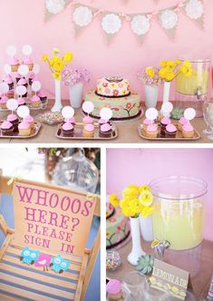 I know this is a kids party, but I love the owl idea for my bridal shower!