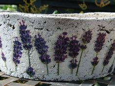 'Lavenders - oval' hypertufa pot