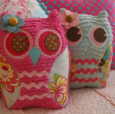 lovely chenille owl pillow's and homemade dolls by emmiscottage