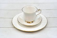 Vintage English Teacup and Saucer Trio Set - White with Gold Edged Border
