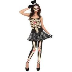 New Adult's Womens 14-16 Sexy Day of the Dead Cinco De Mayo Festival Costume - Womens Standard (14-16) approx 40-42 waist~ 31-34 waist~ 40-42 bust