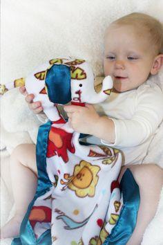 Elephant Security Blanket Lovey Baby Blanket Satin - Jungle elephant theme - by BBsForBabies