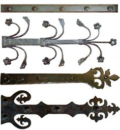 The decorative iron hinge strap pictured is shown all hammered with a flat black…