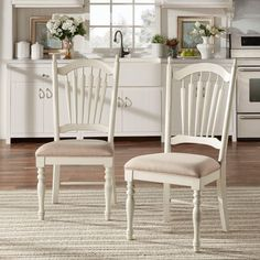 Margot Country Wood and Fabric Dining Side Chair in Antique White (Set of 2)