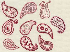 Redwork Paisleys Embroidery Design Set - Machine Embroidery Designs