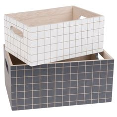 2 White and Black Check Print Storage Containers on Maisons du Monde. Storage Boxes With Lids, Small Storage, Storage Containers, Storage Baskets, Fridge Organization, Vintage Room, Aesthetic Rooms, Wood Boxes, Furniture Decor
