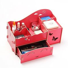 Menu Life Ladies Wooden Jewellery Storage Boxes with Paper Box Creative Desk Organizer Drawers Office Desk Storage. Home Office Storage, Desk Storage, Desk Organization, Storage Boxes, Office Desk, Crochet Pouch, Makeup Box, Wooden Jewelry, Craft Stick Crafts