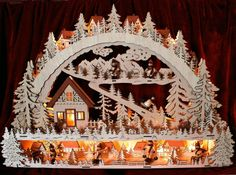 ❀ Schwibbogen GROß Podest 64cm + Trafo Winterlandschaft 24 LED Fensterbogen | eBay