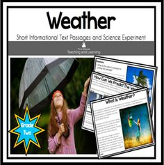 Weather: Science Reading Comprehension Passages | TpT Teaching Science, Science Activities, Science Experiments, Weather Activities For Kids, Weather Science, Reading Comprehension Passages, Making Connections, Text Features, Science Inquiry