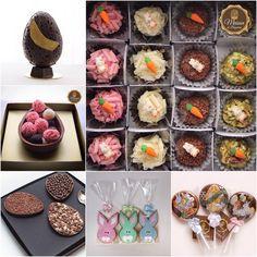 ✨ Nossas opções de Páscoa... ✨ ••••••••••••••••••••••••••••••••••••••••• ✨ Ovos de chocolate Belga, Ovos com brigadeiros gourmet, Ovos de colher, Ovos Recheados, Biscoitos decorados, Pirulitos, Bombons e não podia faltar nossos Brigadeiros Gourmet com enfeites de açúcar de Páscoa. ✨Tudo produzido com chocolates de primeira linha, da marca #CacaoBarry - #Callebaut (belga) e #SICAO (nacional)