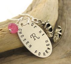 Hand stamped Quote Necklace Chosen Forever in Joy by TNine Design, $55.00