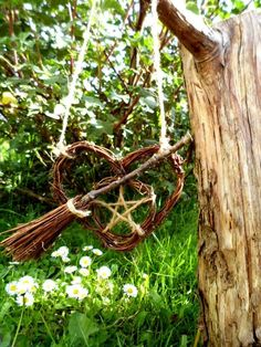 Pagan Handfasting Gifts, Pentagram Besom Heart, Wiccan car Amulet by PositivelyPagan via Etsy Witchy Garden, Gothic Garden, Beltane, Pentacle, Wicca Witchcraft, Magick, Wiccan Witch, Dulceros Halloween, Wiccan Crafts
