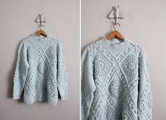 90's vintage sea glass pom doily sweater $50 from allencompany on Etsy