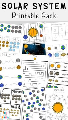Solar System Printable Worksheets and Activities Pack Kids will have a blast working on their literacy, numeracy and handwriting skills Solar System Worksheets, Solar System Activities, Solar System For Kids, Solar System Crafts, Activity Ideas, Space Theme Preschool, Space Activities For Kids, Preschool Activities, Kids Printable Activities