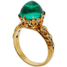 Exceptional Marcus & Co. Colombian Emerald Gold Ring (USA, circa 1900) | 1stdibs