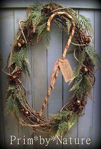 Primitive Christmas Wreath Large Shabby Candy Cane Jingle Bells. Please visit me @ primbynature.com