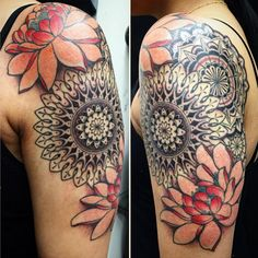Tattoo artist @larascotton is a master at mandalas -- we love the blending of these two with flowers.