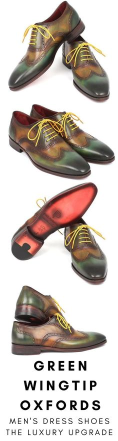 Mens dress shoe in green wingtip Oxford by Paul Parkman. Luxury mens handmade dress shoes, formal shoes, business shoes for any occasion. These shoes come in multiple sizes. They are hand-painted with care by expert shoemakers. #mensdressshoes #dressshoes #shoes #mensfashion #socks #laces #handmade #bestshoes #luxuryshoes #businessshoes #formalshoes