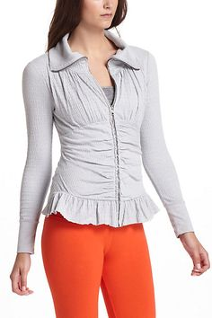 """Crinkled Zip-Up   DETAILS  Zip front  Cotton, polyester, spandex  Machine wash  24""""L  Imported  Style #: 24465023"""