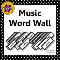 Your music students will be able to see your bulletin board or music word wall anywhere in the room! 202 words plus, an editable ppt slide is included to add a word if needed! Easy index to help select the words/pages you would like to print! A must have for music education classrooms!