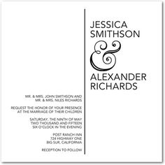Ampersand Aesthetic - Signature White Wedding Invitations - East Six Design - Black : Front