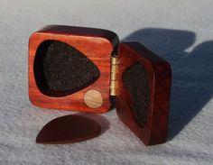 Red Paduak wood pick or ring box - magnetic latch