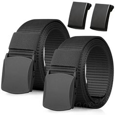 Nylon Belt, 2Pack Men Military Tactical Breathable Belt, fast pass through the airport security. Metal Buckle+Plastic Buckle