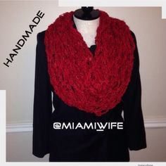Handmade infinity scarf. Order yours today Hand knitted infinity scarf. Items ship within 2-3 days. Payments are taken upfront. Extra $5 for any designs added. Thank you. @miami_wife is my other closet, I'm a suggested user top 10% seller and 2x party host. Trusted & honest seller. Handmade Accessories Scarves & Wraps
