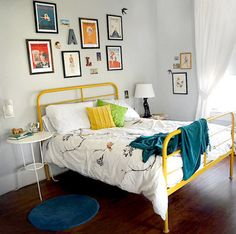 IKEA bed frame painted yellow...