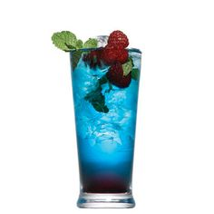 Berry Mojito..muddle bacardi razz..blue curacao and chambord with mint