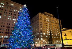 The holiday display in Pioneer Courthouse Square in downtown Portland, Oregon.