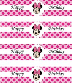 Minnie Mouse Birthday Party Water Bottle Labels by allforparty