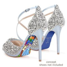 Custom hand painted Cinderella Stained Glass heels from AshtonAtelier on Etsy Hand Painted Heels, Painted Shoes, Disney Heels, Disney Toms, Disney Wedding Shoes, Cinderella Heels, Cinderella Princess, Princess Wedding, Glass Heels