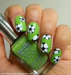 World Cup Nails! Hello everyone! I've got some football nail art to show you today in celebration of the World Cup! I don't usually watch football (or any sports really) but during the World Cup I do like to watch some of the matches with my family :) Glam Nails, Fancy Nails, Trendy Nails, Beauty Nails, Cute Nails, Soccer Nails, Football Nail Art, Watch Football, Sport Nails