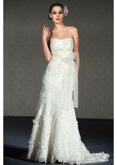 Lace Silk Organza Strapless sash flowers and delicate beading Chapel Train Wedding Dress - Wedding Dresses