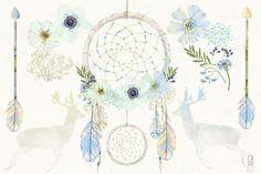 Watercolor floral dreamcatcher boho by GrafikBoutique on Creative Market