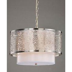 Modern White Metal Chandelier > $139.00 Two Drum Shades, Three Lights - http://ynueco.net/modern-white-metal-chandelier-139-00-two-drum-shades-three-lights/