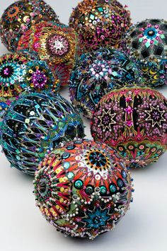 Beautiful fabric covered and bead encrusted ornaments from Benartex, free pattern
