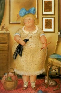 The Old Maid (and her cat) | oil painting, 1974  | Fernando Botero