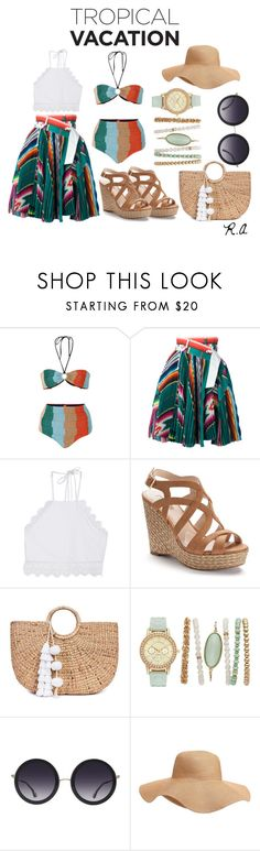 """Tropical Vacation"" by ratihasmarani ❤ liked on Polyvore featuring Missoni Mare, Sacai, Front Row Shop, Jennifer Lopez, JADE TRIBE, Alice + Olivia, Old Navy, skirt, beach and bikini"