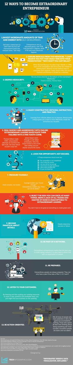 12 Ways To Become an Extraordinary Entrepreneur #infographic #Business #Startup