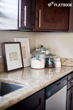 Frame old, handwritten, family recipes for meaningful kitchen decor.