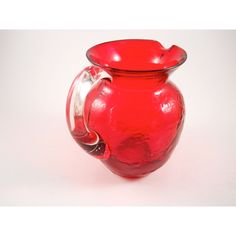 Red Glass Pitcher with Clear Glass Handle ($9) ❤ liked on Polyvore featuring home, kitchen & dining and serveware