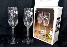 "8"" Fine Stemware Toasting Flutes Glasses Crystal Clear Expressions 6oz JAPAN Set…"
