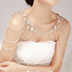 Bridal Women Crystal Rhinestone Shoulder Body Chain Headdress Crystal Jewelry for sale online Shoulder Jewelry, Shoulder Necklace, Rhinestone Necklace, Crystal Rhinestone, Dangle Earrings, Crystal Flower, Body Chains, Vintage Wedding Jewelry, Bridal Jewelry